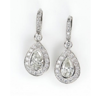 GIA 3.39ct Estate Vintage Pear Diamond Halo Drop 18 White Gold Earring