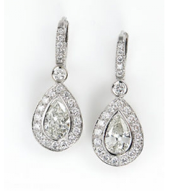 RESERVED .... GIA 3.39ct Estate Vintage Pear Diamond Halo Drop 18 White Gold Earring