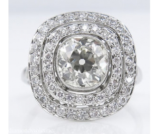 2.26ct Antique Vintage Old Mine Diamond Cluster Engagement Wedding Platinum Ring EGL USA