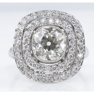 2.26ct Antique Vintage Old Mine Diamond Cluster Engagement Wedding Platinum Ring EGL USA