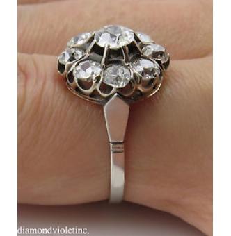 1.92ct Antique Vintage Edwardian Old Mine Diamond Cluster Engagement Wedding Platinum Ring