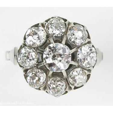 1.92ct Antique Vintage Edwardian Old Mine Diamond Cluster Engagement Wedding Platinum Ring