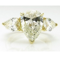 5.02ct Estate Vintage Pear Diamond 3 Stone Engagement Wedding 18k Yellow Gold Ring