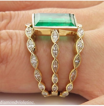 GIA 4.75ct Estate Vintage Colombian Green Emerald Diamond Engagement Wedding 18k Yellow Gold Ring