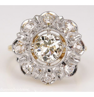 1.28ct Antique Vintage Old European Diamond Cluster Engagement Wedding 18k Yellow Gold Ring EGL USA