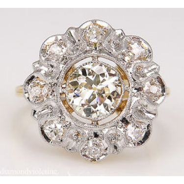 1.28ct Antique Vintage Old European Diamond Cluster Engagement Wedding 18k Yellow Gold Ring EGL USA