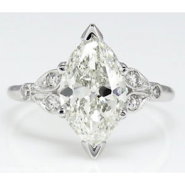 2.25ct Antique Vintage Art Deco Old Euro Marquise Diamond Engagement Wedding Platinum ring EGL USA