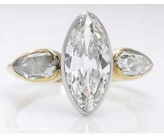GIA 2.55ct Antique Vintage Old Marquise Diamond 3 Stone Engagement Wedding 18k Yellow Gold Ring