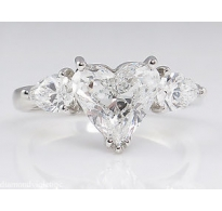 GIA 2.71ct Estate Vintage Heart Diamond 3 Stone Engagement Wedding Platinum Ring