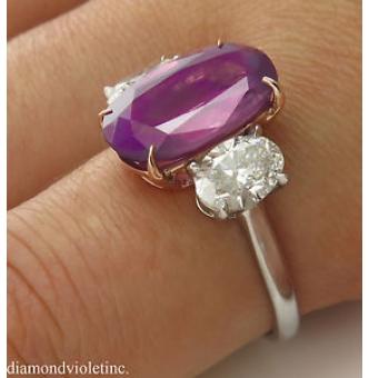 GIA 5.50ct Estate Vintage NO HEAT Pink Sapphire Diamond 3 Stone Engagement Wedding Platinum Ring