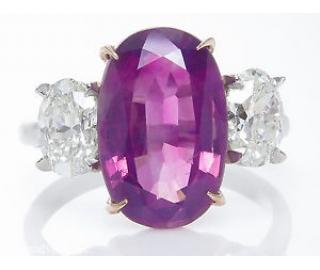 RESERVED..GIA 5.50ct Estate Vintage NO HEAT Pink Sapphire Diamond 3 Stone Engagement Wedding Platinum Ring
