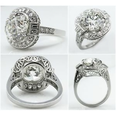 GIA 5.44ct Antique Vintage Art Deco Old European Diamond Engagement Wedding Platinum Ring