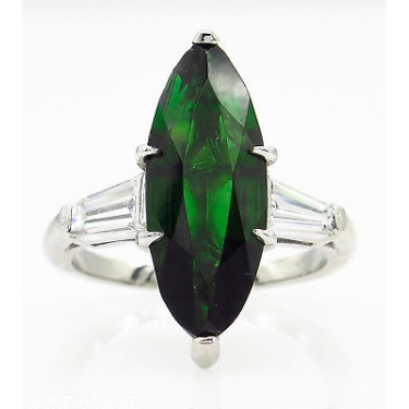 GIA 3.85ct Estate Vintage Green Tourmaline Diamond Engagement Wedding Platinum Ring