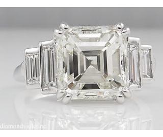 GIA 5.81ct Antique Vintage Art Deco Asscher Diamond Engagement Wedding Platinum Ring