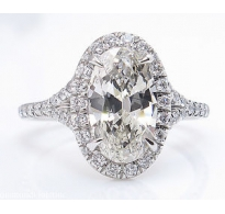 1.75ct Estate Vintage Oval Diamond Engagement Wedding Platinum Halo Ring