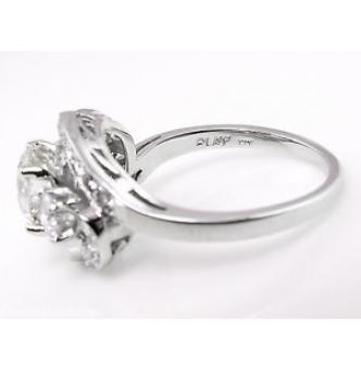 GIA 2.60ct Estate Vintage Old European Diamond Cluster Engagement Wedding Platinum Ring
