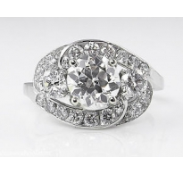 GIA 2.60ct Estate Vintage Old European Diamond Cluster Engagement Wedding Platinum Ring
