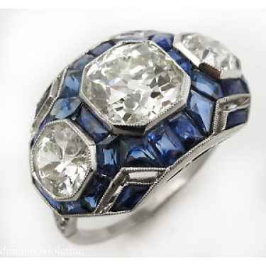 7.28ct Antique Vintage Art Deco Old European Diamond Sapphire Three Stone Engagement Wedding Platinum Ring