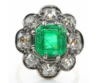 GIA 3.72ct Antique Vintage Victorian Colombian Green Emerald Diamond Cluster Engagement Wedding 18k Yellow Gold Ring