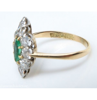 1.34ct Antique Vintage Victorian Green Emerald Diamond Engagement Wedding Cluster 18k Yellow Gold Ring EGL USA