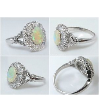 1.69ct Antique Vintage Australian Opal Diamond Cluster Engagement Wedding 18k White Gold Ring