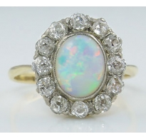 2.73ct Antique Vintage Australian Opal Diamond Engagement Wedding 18k Yellow Gold Ring