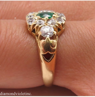 1.00ct Antique Vintage Victorian Green Emerald Diamond Engagement Wedding Cluster 18k Yellow Gold Ring EGL USA