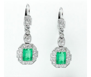 GIA 4.80ct Antique Vintage Art Deco Untreated Natural Colombian Green Emerald Diamond Drop Dangle Earrings Platinum