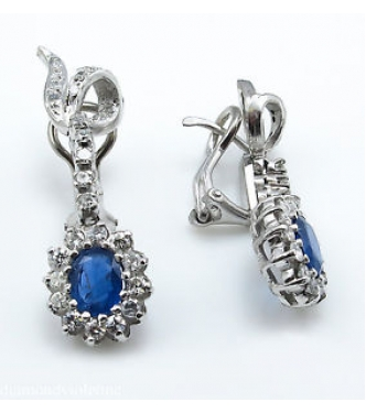 3.60ct Estate Vintage Oval Sapphire and Diamond Drop Dangle Earrings