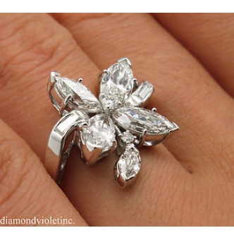 GIA 2.69ct Estate Vintage Marquise Diamond Cluster Right Hand Fashion Ring in Platinum