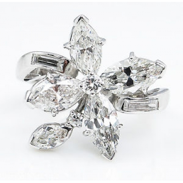 GIA 2.69ct Estate Vintage Diamond Cluster Right Hand Fashion Ring in Platinum