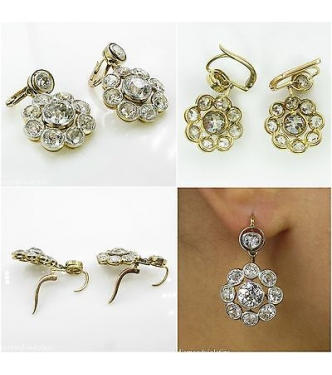 9.50ct Antique Vintage Victorian CIRCA 1890 Old European Diamond Drop Dangle 18k Yellow Gold Earrings EGL USA