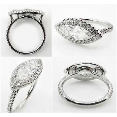 GIA 1.55ct Estate Vintage Marquise Diamond Engagement Wedding Platinum Ring