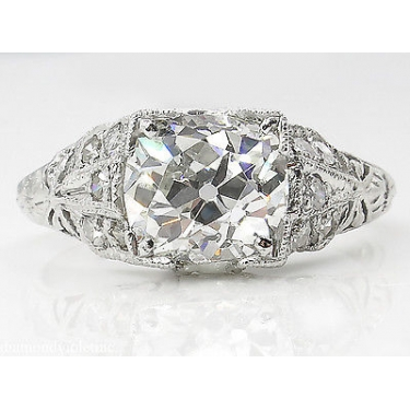 GIA 2.15ct Antique Vintage Edwardian Old Mine Cushion Diamond Engagement Wedding Platinum Ring