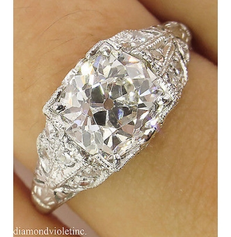 RESERVED... GIA 2.15ct Antique Vintage Edwardian Old Mine Cushion Diamond Engagement Wedding Platinum Ring