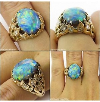 3.30ct Antique Vintage Victorian Australian Black Opal Diamond Engagement Wedding 18k Yellow Gold Ring