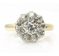 GIA 1.71ct Antique Vintage Victorian Old Euro Diamond Cluster Engagement Wedding 18k Yellow Gold Ring