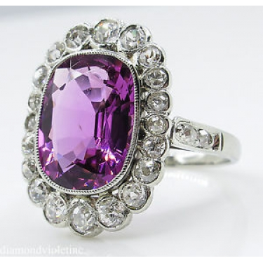GAL 5.80ct Estate Vintage Art Deco Tourmaline Diamond Cluster Engagement Wedding 18k White Gold Ring