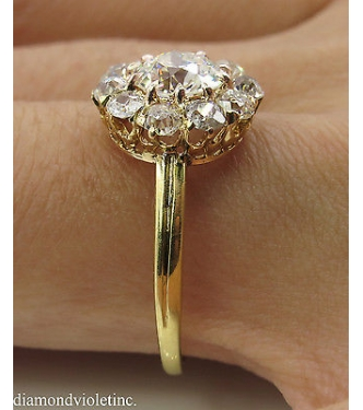 GIA 2.01ct Antique Vintage Round Diamond Cluster Engagement Wedding 18k Yellow Gold Ring