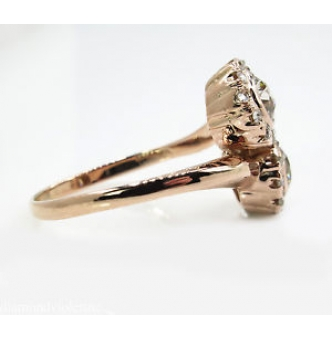 1.43ct Estate Vintage Old European Diamond Bypass Crossover Engagement Wedding 18k Rose Gold Ring