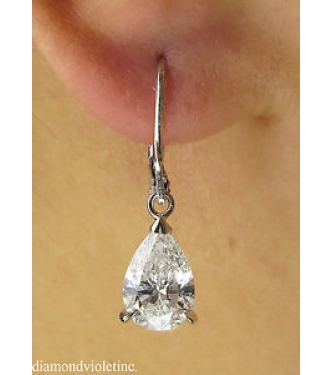 GIA 3.01ct Estate Vintage Pear Diamond Solitaire Drop Dangle 18k White Gold Earrings