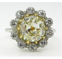 3.82ct Antique Vintage Old Mine Diamond Cluster Engagement Wedding 18k Yellow Gold Platinum Ring