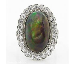 7.21ct Estate Vintage Australian Black Opal Cluster Engagement Wedding Platinum Ring