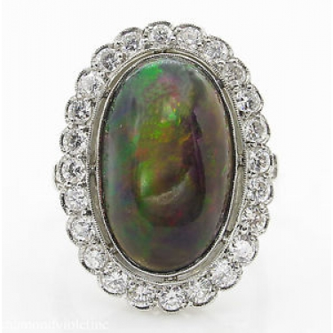 7.21ct Estate Vintage Australian Black Opal Cluster Engagement Wedding Platinum Ring