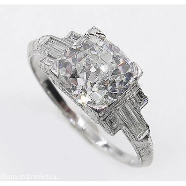 GIA 2.23ct Antique Vintage Art Deco Old Mine Diamond Engagement Wedding Platinum Ring
