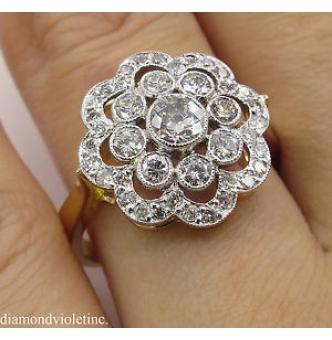 1.35ct Estate Vintage Round Diamond Cluster Engagement Wedding Platinum/18k Yellow Gold Ring