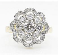 1.35ct Estate Vintage Round Diamond Cluster Engagement Wedding Platinum/18k Yellow Gold Ring