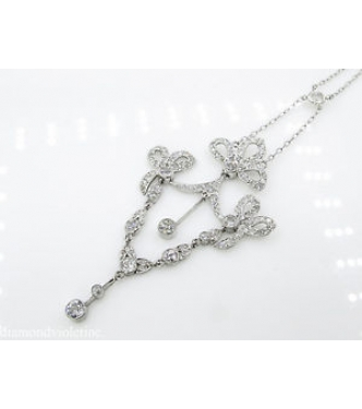 2.46ct Estate Vintage Old European Diamond Pendant Necklace Platinum