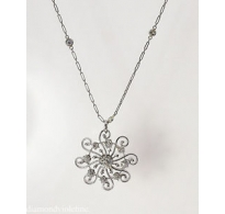 1.28ct Antique Vintage Round Diamond Pendant Necklace by Yard in Platinum/White gold