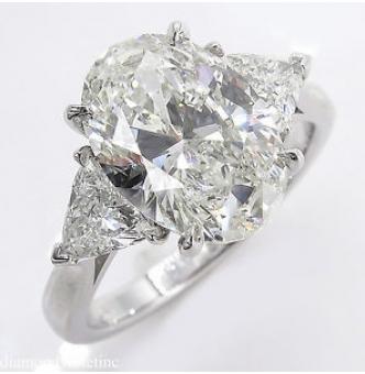 RESERVED... 3.63ct Estate Vintage Oval Diamond 3 Stone Engagement Wedding Platinum Ring EGL USA
